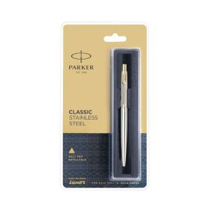 Parker Classic Stainless Steel Blue Ball Pen With Gold Trim