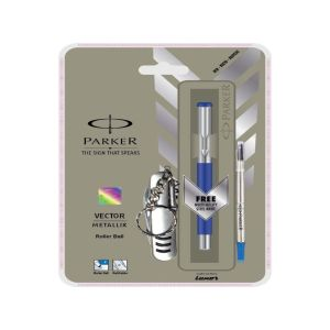 Parker Vector Metallix Roller Blue Ball Pen With Stainless Steel Trim + Swiss Knife Keychain