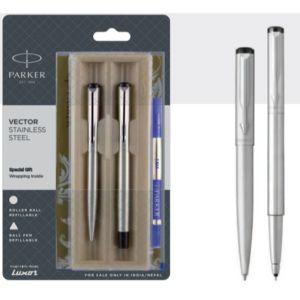 Parker Vector Stainless Steel Ball Pen + Roller Ball Pen With Stainless Steel Trim Blue