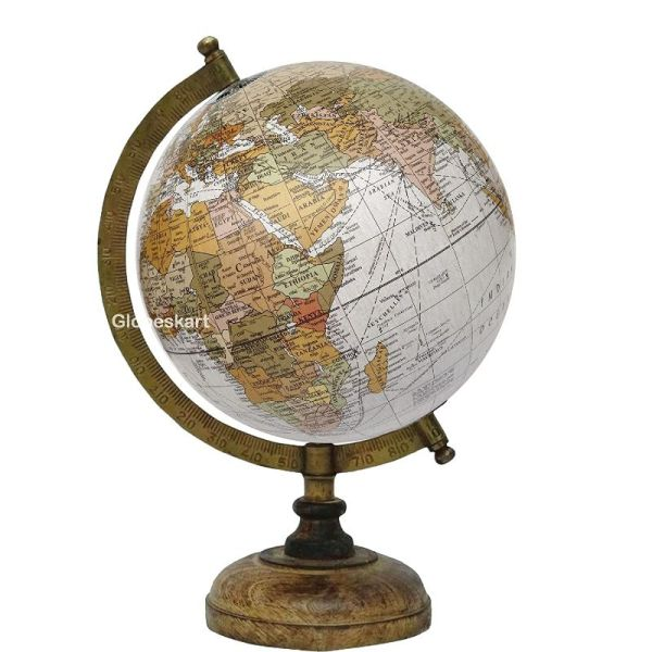 Antique Globe With Brass Antique Arc And Wooden Base