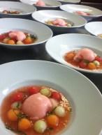 soupe de melon et pasteque, boule de sorbet pasteque