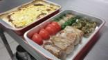 example menu à rechauffer: filet mignon, champignon farci, fagot haricots verts, tomate et gratin dauphinois