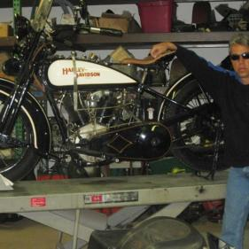 Paul with his Cannonball 1925 Harley Davidson JE