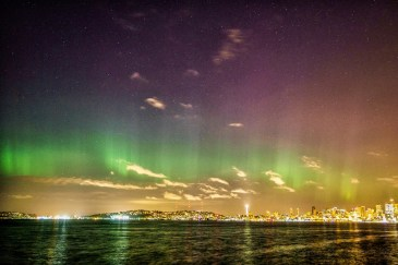 Rainbow aurora over Seattle Mother's Day 2016