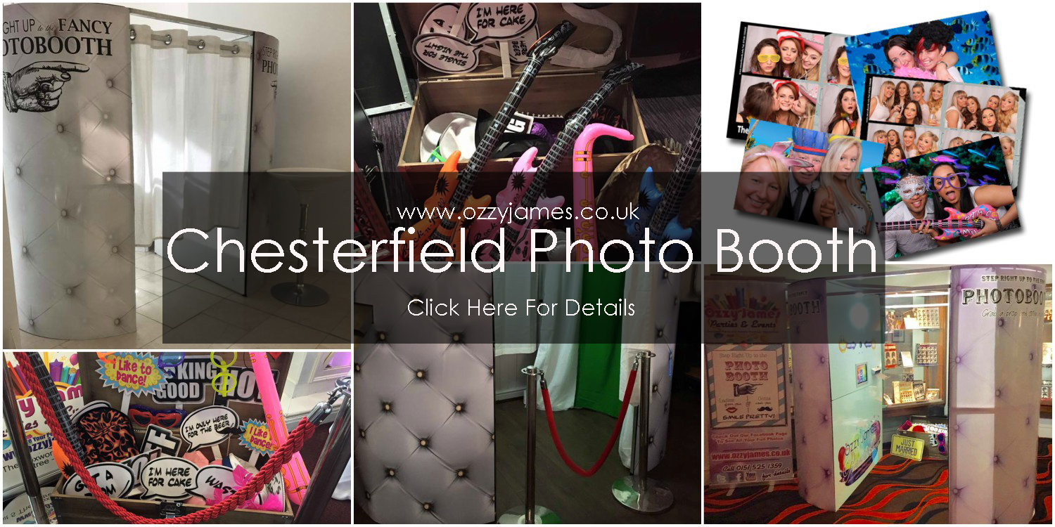 wedding chair cover hire chesterfield dining table back covers photo booth ozzy james parties events