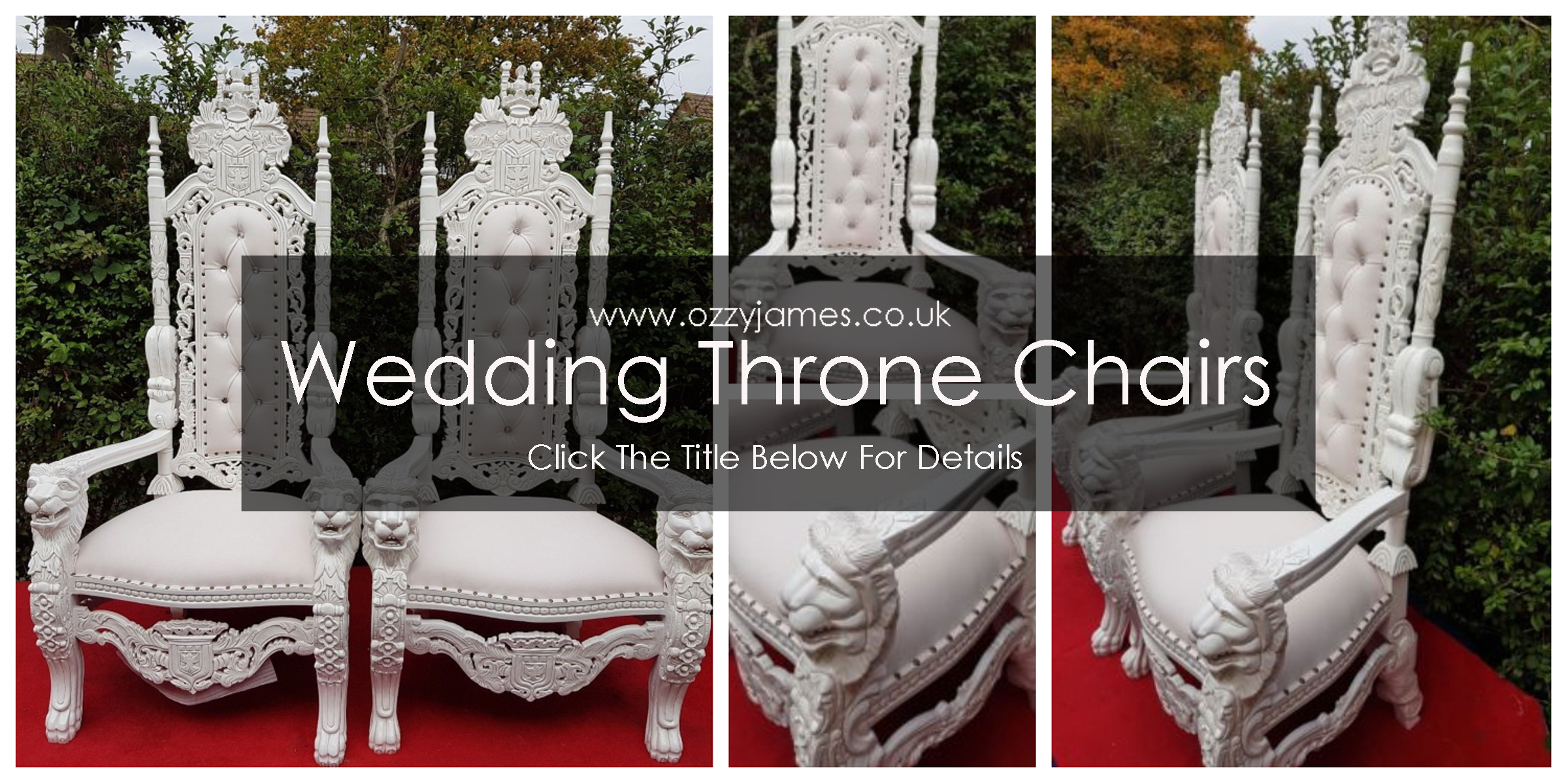 chair cover hire merseyside chainsaw carved chairs white wedding throne liverpool cheshire northwest ozzy james events