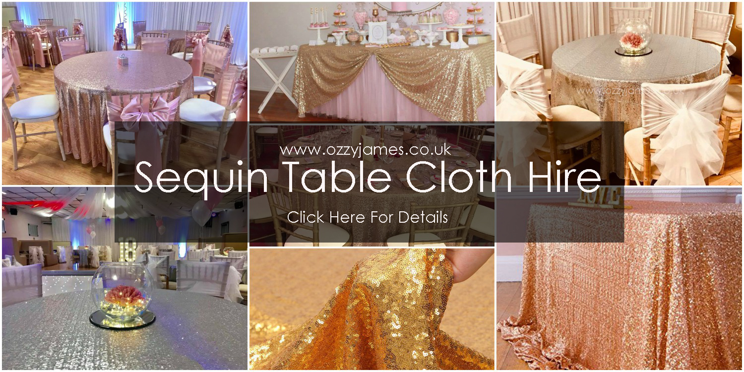 chair covers hire bolton distressed leather sequin table linen ozzy james parties events cloth merseyside