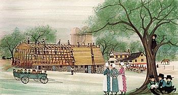 amish barn raising sold