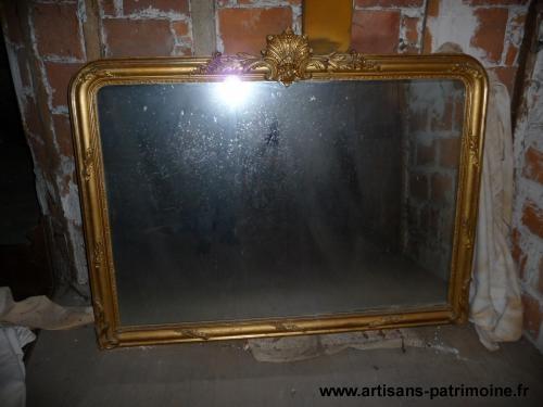 grand miroir ancien dore ref 230