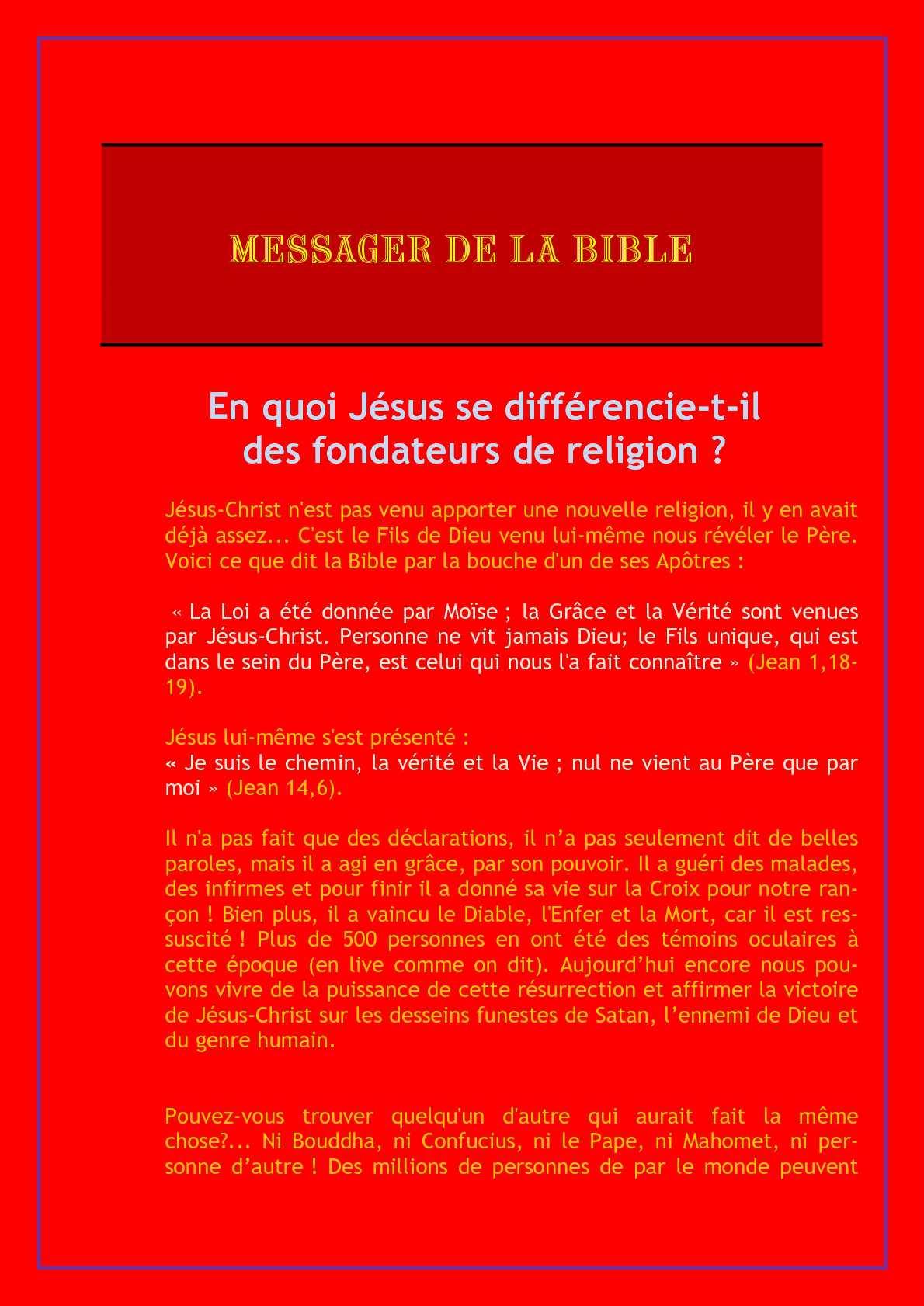 C Est Celui Qui Dit Qui Est : celui, Calaméo, Messager, Bible-, Jésus, Différencie-t-il, Fondateurs, Religion