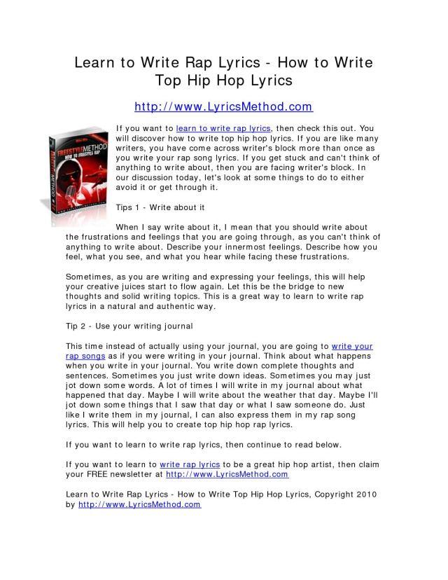 Calaméo - Learn to Write Rap Lyrics - How to Write Top Hip Hop Lyrics