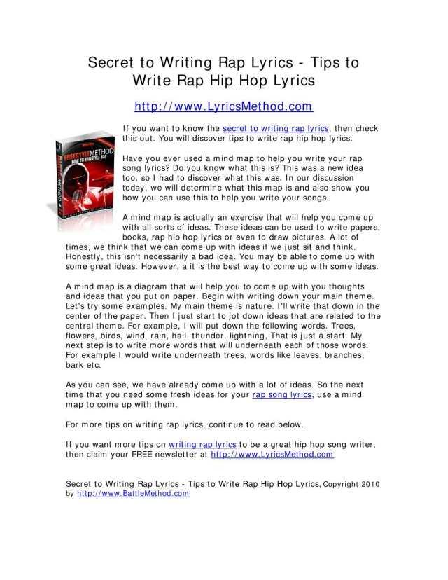Calaméo - Secret to Writing Rap Lyrics - Tips to Write Rap Hip Hop