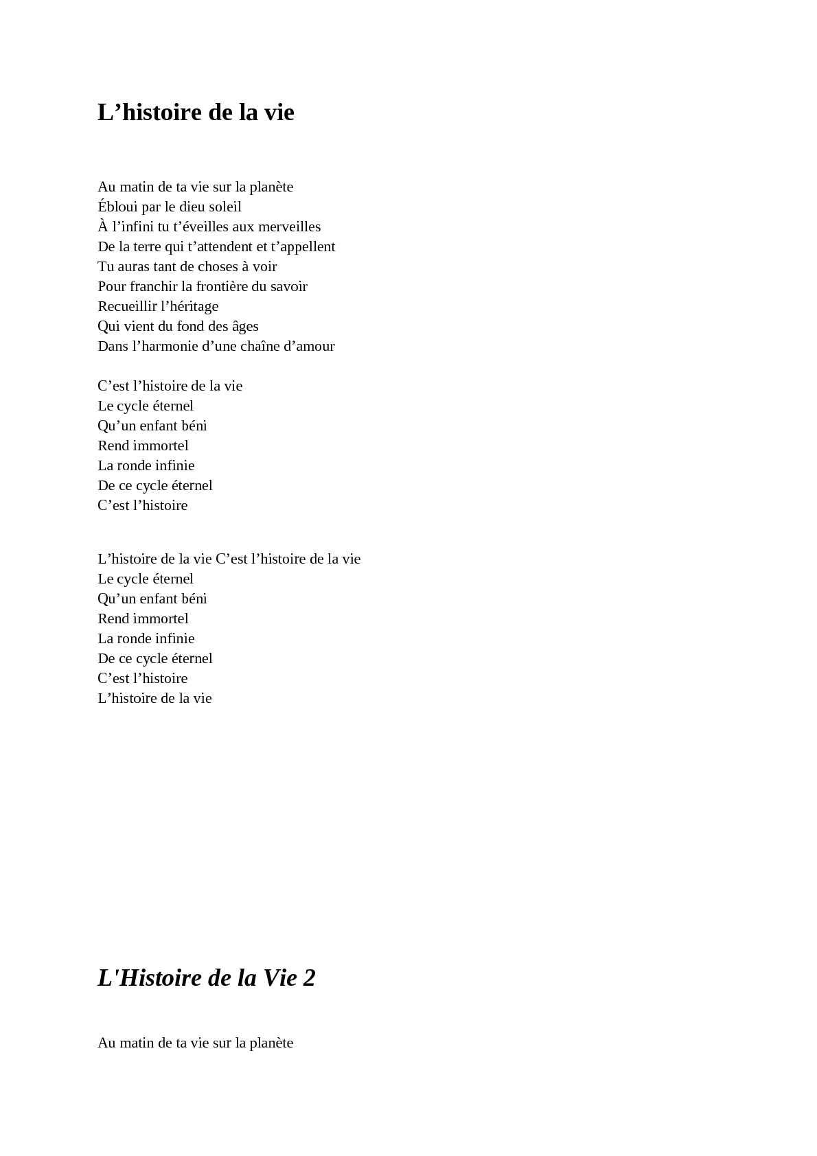 C Est L Histoire De La Vie : histoire, Calaméo, Chanson, Disney
