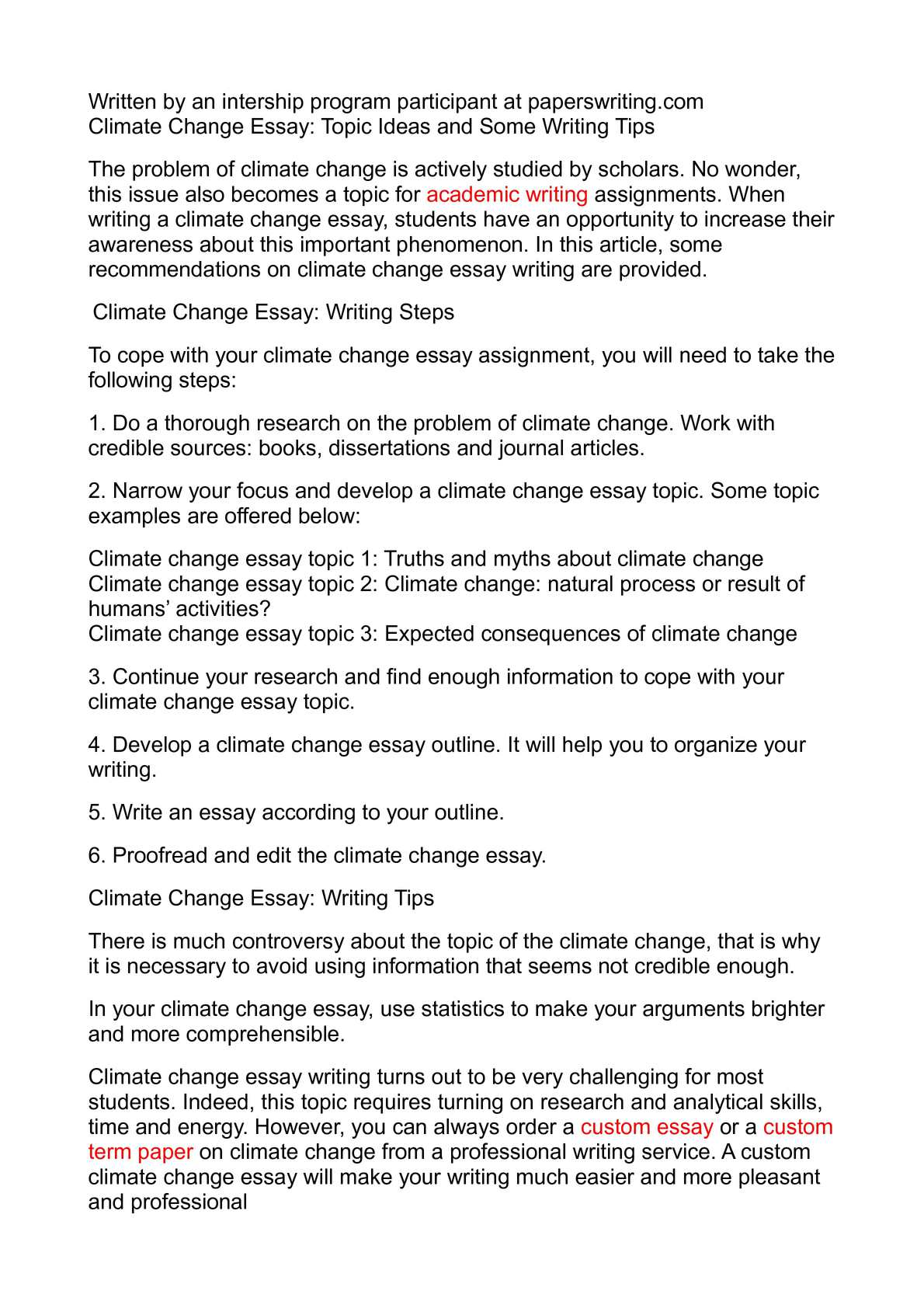 Climate Change Essays Writings