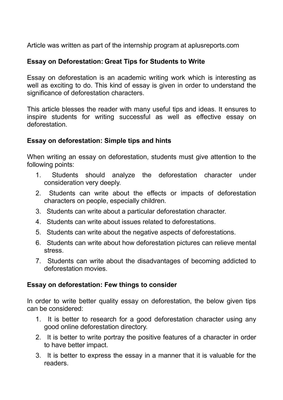 Calamo  Essay on Deforestation Great Tips for Students