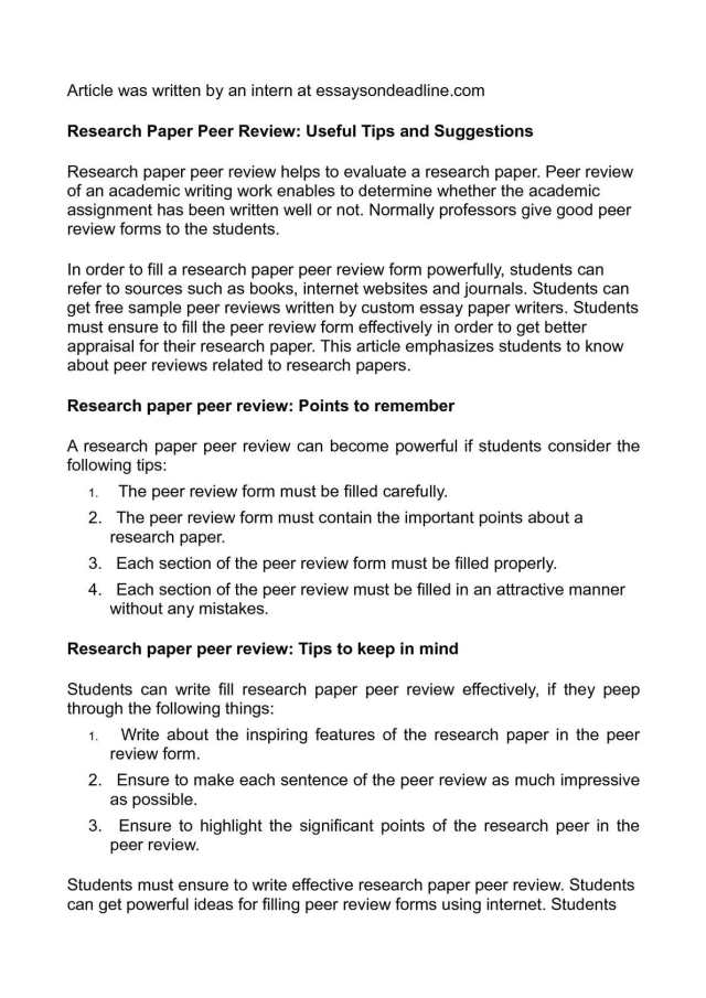 Calaméo - Research Paper Peer Review: Useful Tips and Suggestions