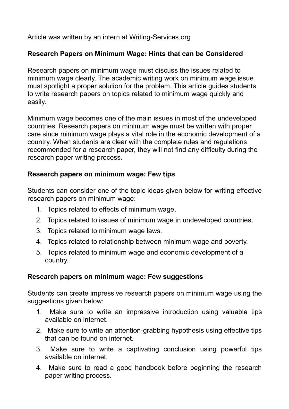 Calaméo Research Papers On Minimum Wage Hints That Can Be Considered