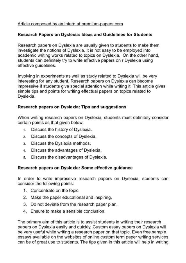 Calaméo - Research Papers on Dyslexia: Ideas and Guidelines for