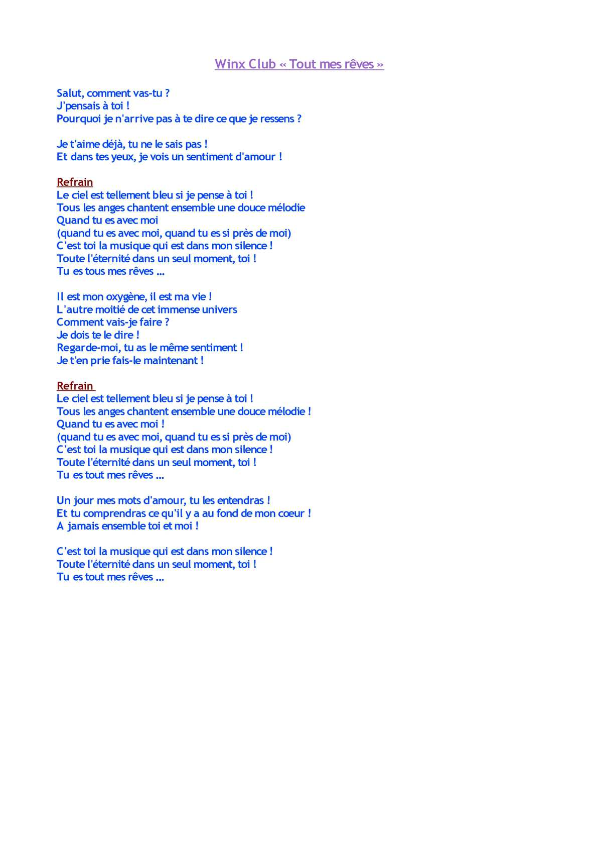 Ce Reve Bleu Parole : parole, Calaméo, Rêves, (paroles)