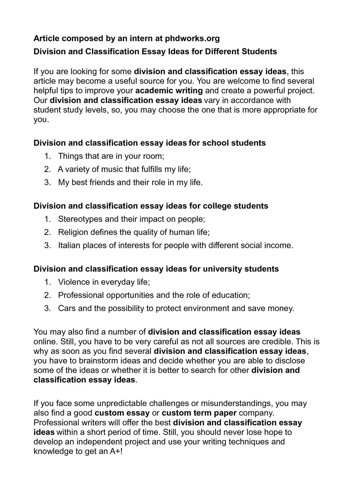 Division Classification Essay Topics Classification And