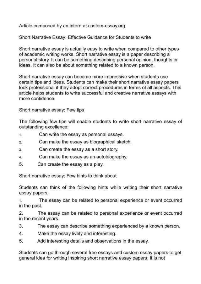 Calaméo - Short Narrative Essay: Effective Guidance for Students