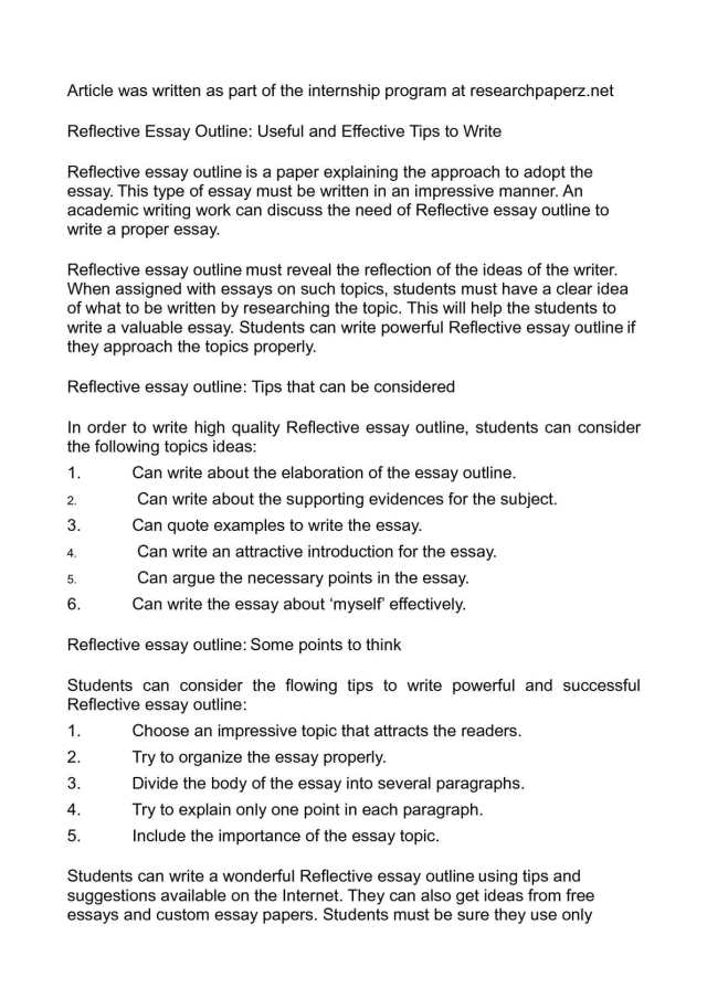 Calaméo - Reflective Essay Outline: Useful and Effective Tips to Write