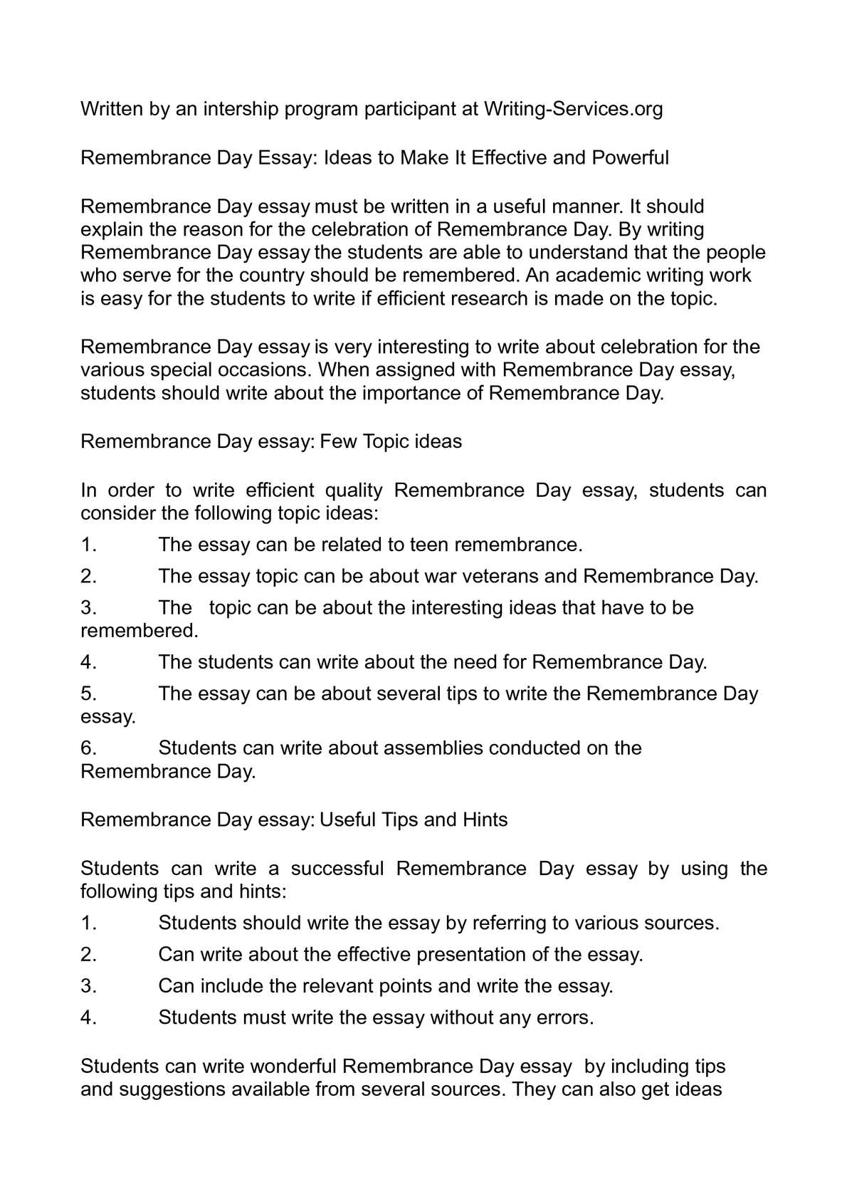 Calamo Remembrance Day Essay Ideas To Make It