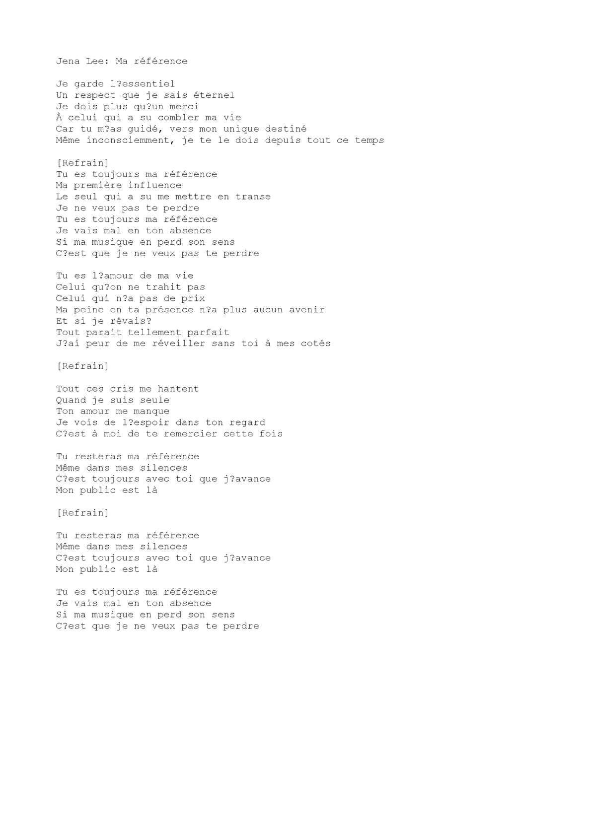 Chanson Sur Le Manque Et L'absence : chanson, manque, l'absence, Calaméo, Référence, (chanson)