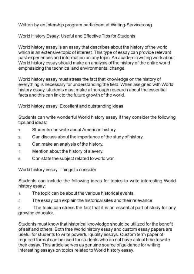 Calaméo - World History Essay: Useful and Effective Tips for Students