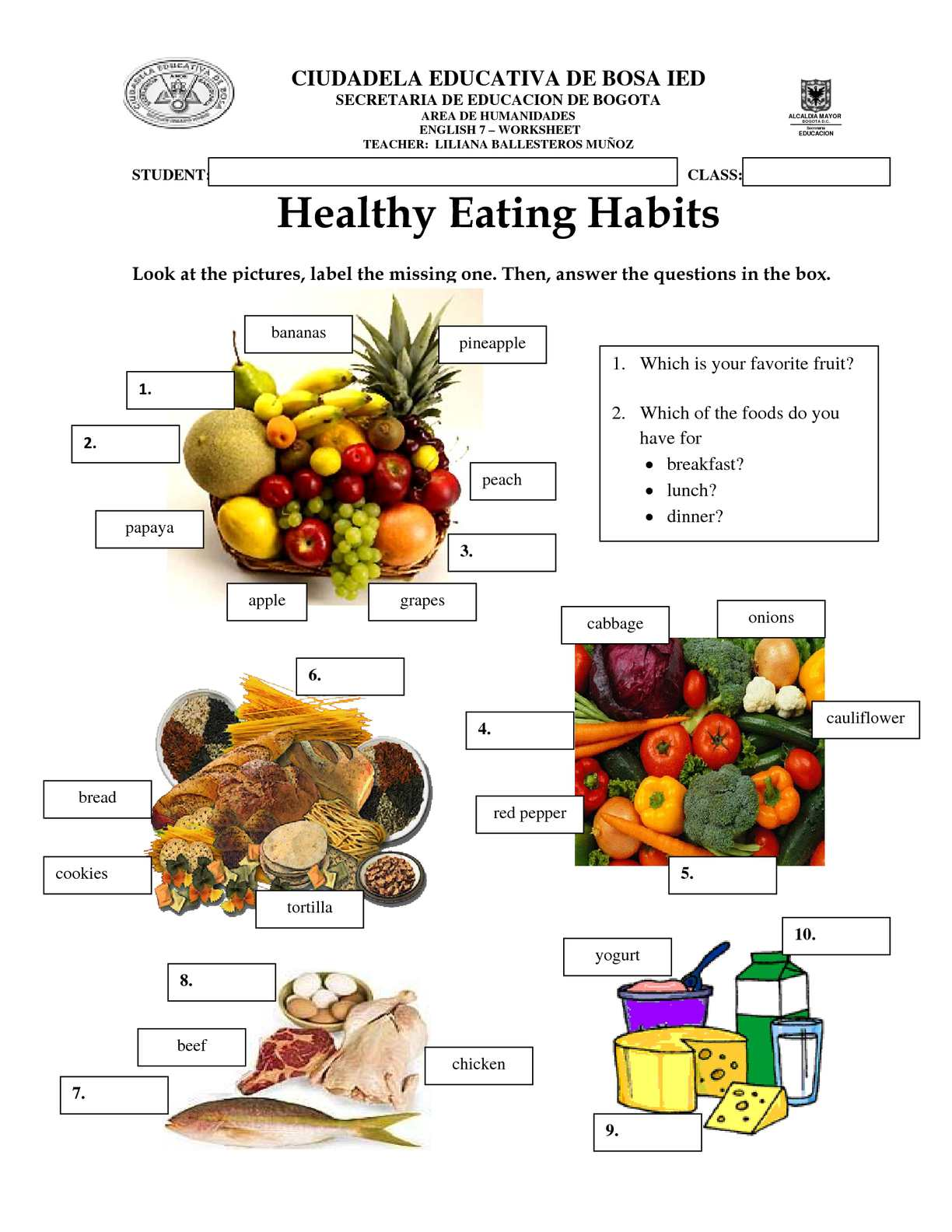 Healthy Snacks Worksheet