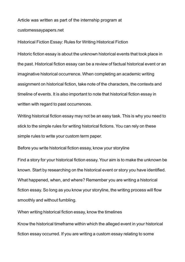 Calaméo - Historical Fiction Essay: Rules for Writing Historical