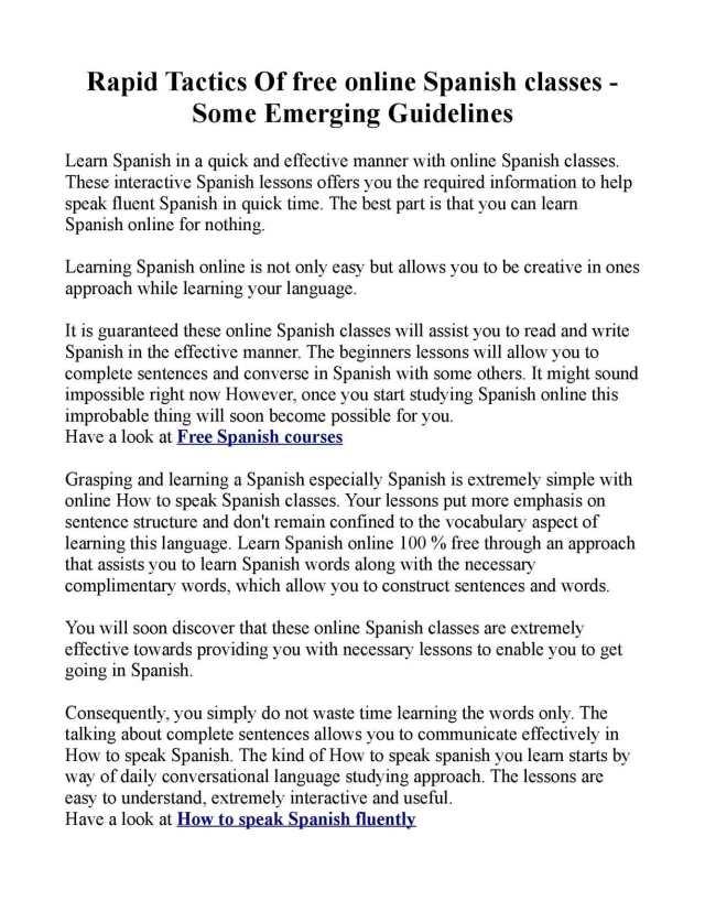 Calaméo - Rapid Tactics Of free online spanish classes - Some