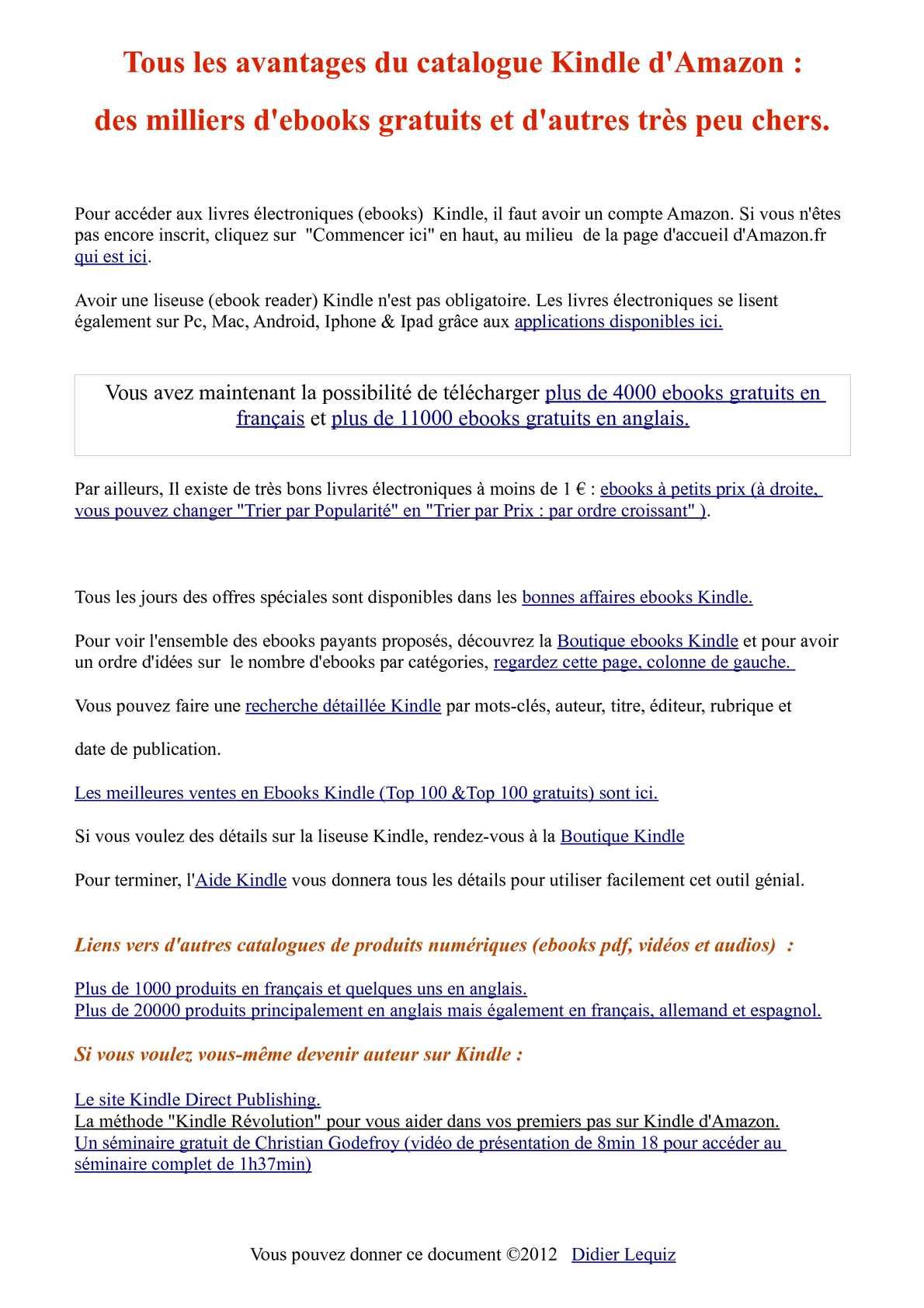 Meilleurs Livres Gratuits Kindle : meilleurs, livres, gratuits, kindle, Calaméo, Kindle, Amazon, Ebooks, Gratuits, Français, 11000, Anglais.
