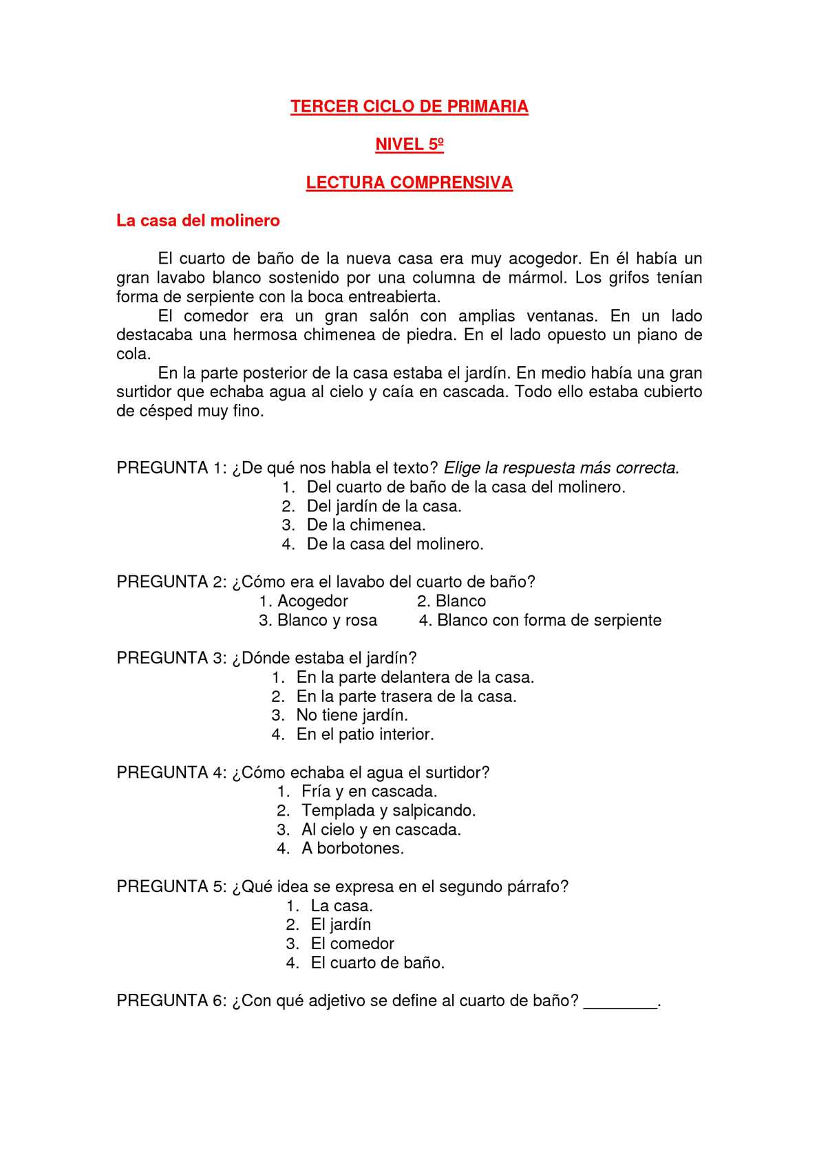 Calamo  LECTURAS COMPRENSIVAS TERCER CICLO PRIMARIA