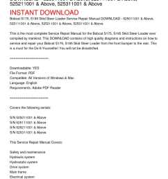 calam o bobcat s175 s185 skid steer loader service repair manual download 525011001 above 525111001 above 525211001 above 525311001 above [ 1224 x 1584 Pixel ]