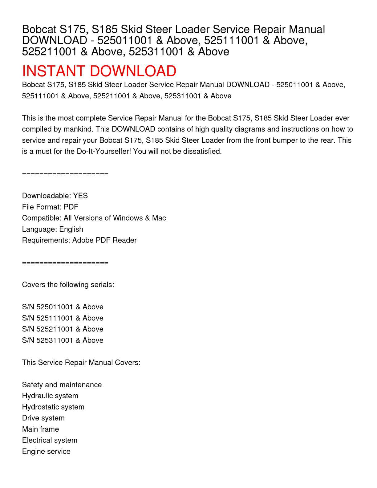 hight resolution of calam o bobcat s175 s185 skid steer loader service repair manual download 525011001 above 525111001 above 525211001 above 525311001 above