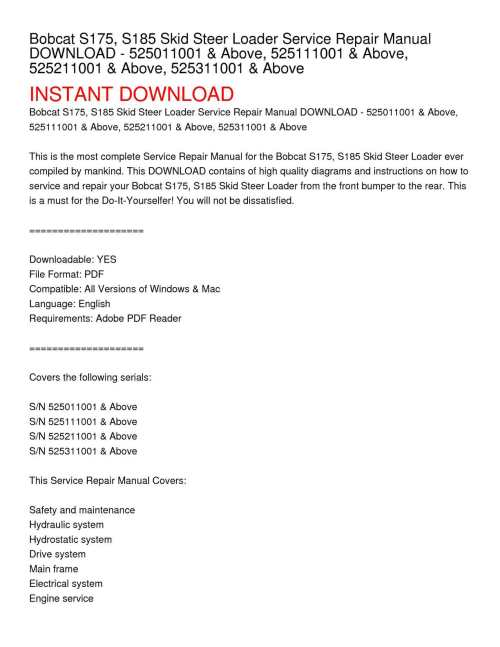 small resolution of calam o bobcat s175 s185 skid steer loader service repair manual download 525011001 above 525111001 above 525211001 above 525311001 above