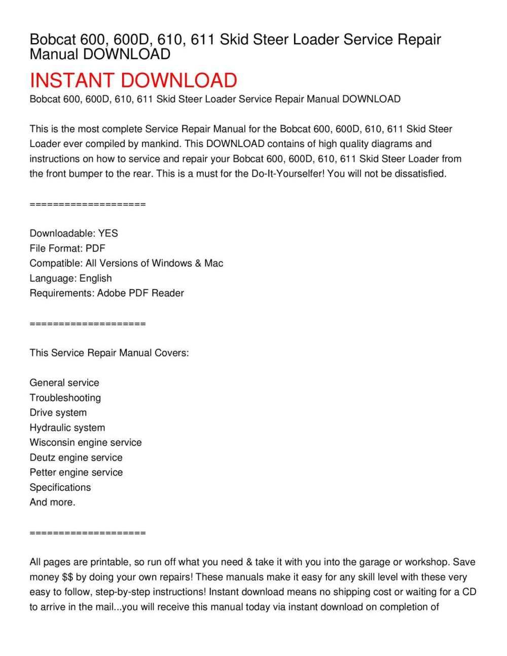 medium resolution of bobcat 600 600d 610 611 skid steer loader service repair manual download