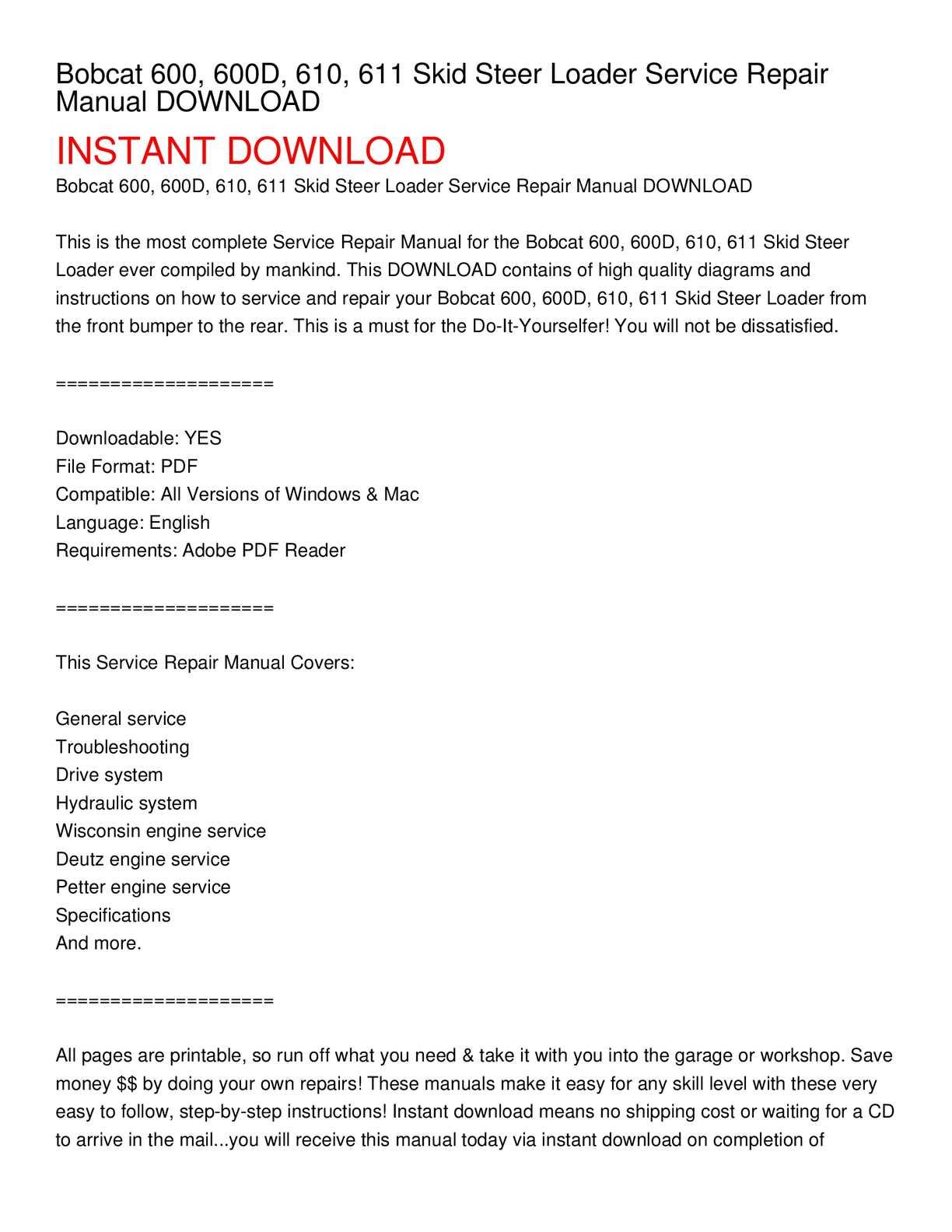 hight resolution of bobcat 600 600d 610 611 skid steer loader service repair manual download