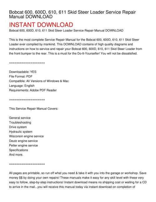 small resolution of bobcat 600 600d 610 611 skid steer loader service repair manual download