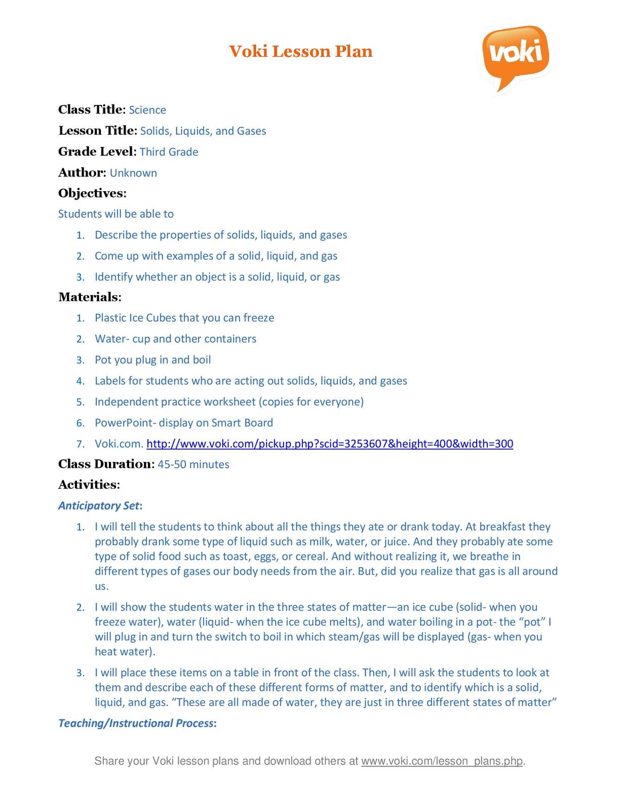 hight resolution of Calaméo - A Voki lesson plan Solid Liquid Gas (3rd Grade Science)