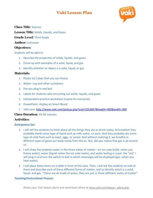 small resolution of Calaméo - A Voki lesson plan Solid Liquid Gas (3rd Grade Science)