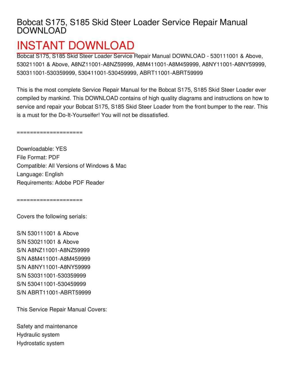 medium resolution of bobcat s175 s185 skid steer loader service repair manual download