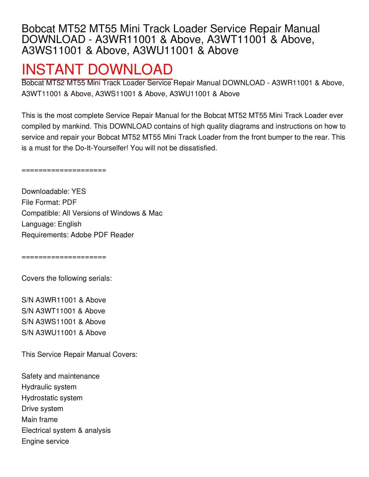 hight resolution of calam o bobcat mt52 mt55 mini track loader service repair manual download a3wr11001 above a3wt11001 above a3ws11001 above a3wu11001 above