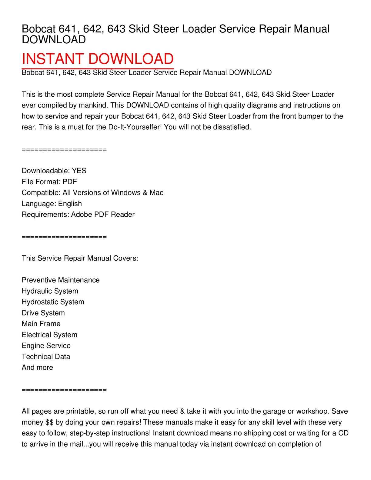 hight resolution of bobcat 641 642 643 skid steer loader service repair manual download