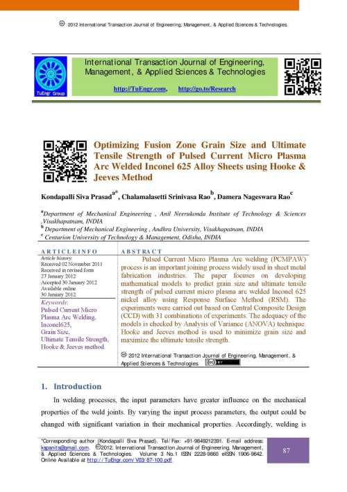small resolution of calam o optimizing fusion zone grain size and ultimate tensile strength of pulsed current micro plasma arc welded inconel 625 alloy sheets using hooke