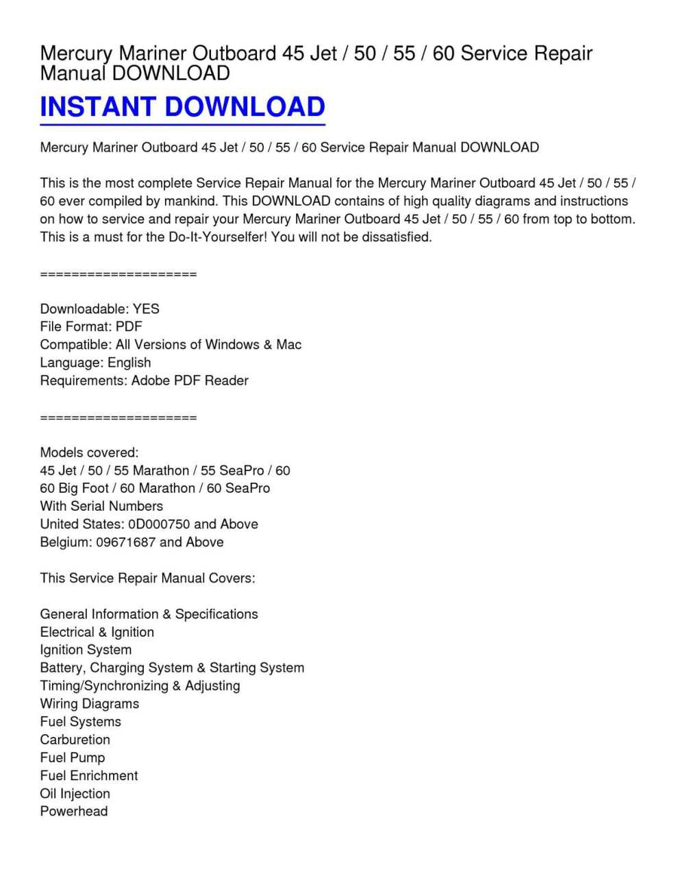 medium resolution of calam o mercury mariner outboard 45 jet 50 55 60 service repair manual