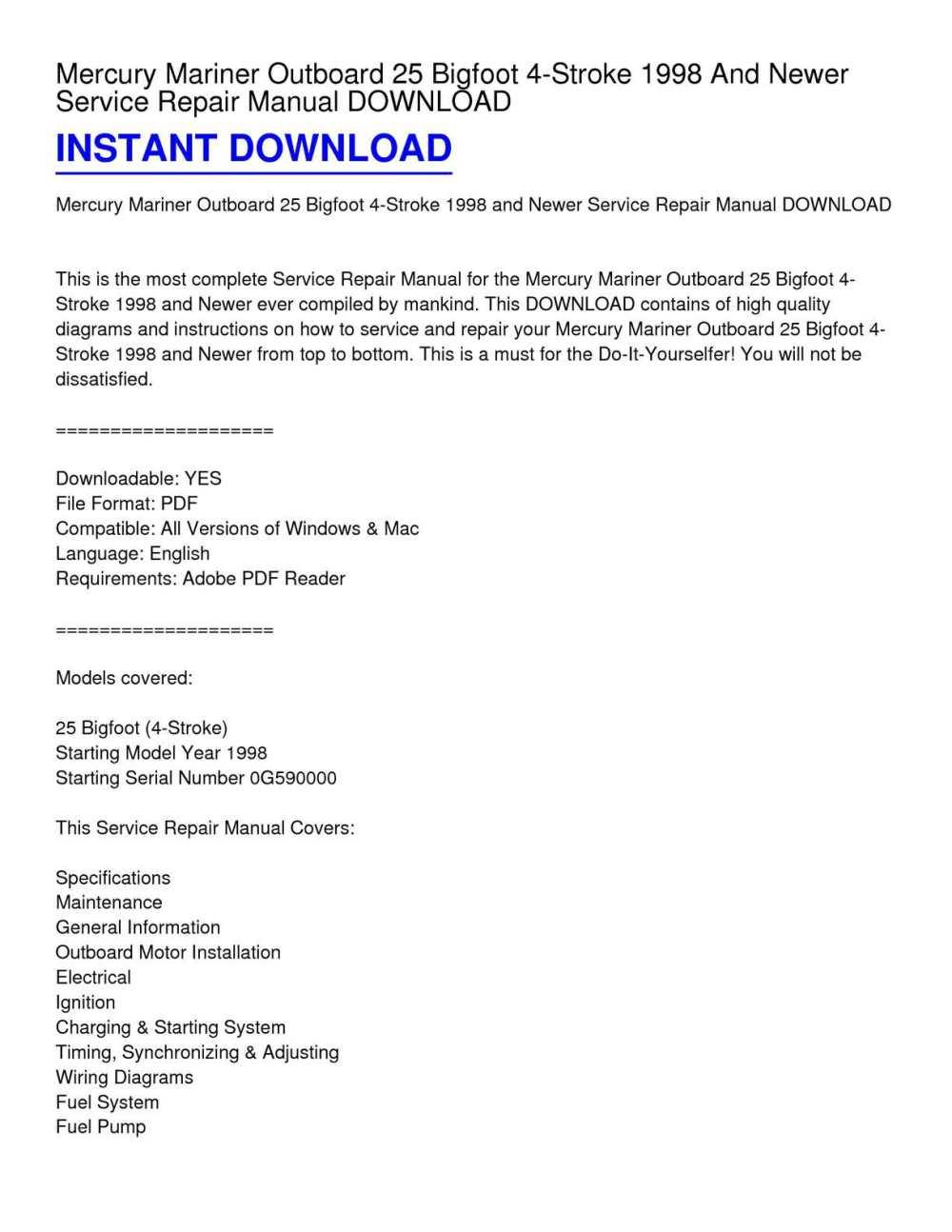 medium resolution of calam o mercury mariner outboard 25 bigfoot 4 stroke 1998 and newer service repair manual download