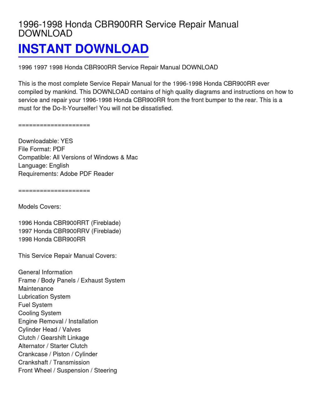 medium resolution of 1996 1998 honda cbr900rr service repair manual download