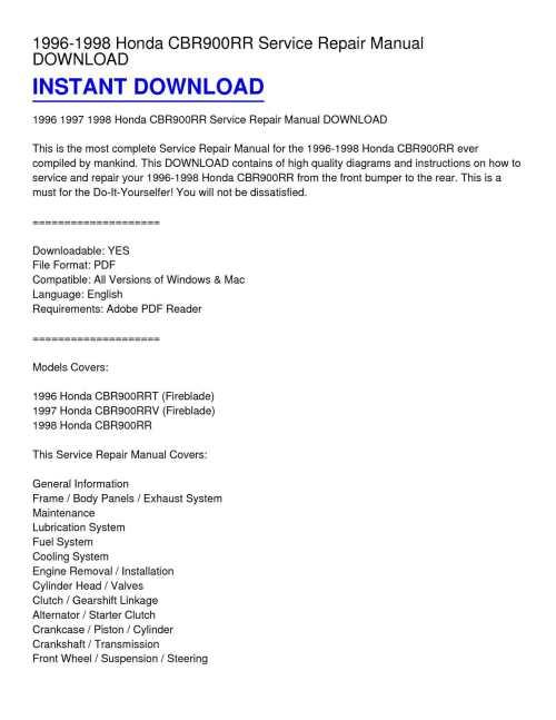 small resolution of 1996 1998 honda cbr900rr service repair manual download
